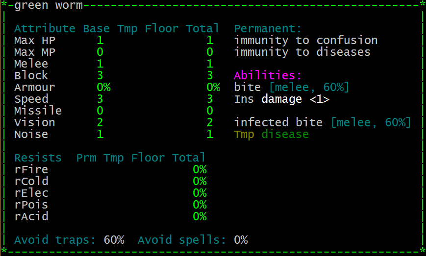 """A green worm now has two melee attacks: """"bite"""" and """"infected bite"""""""